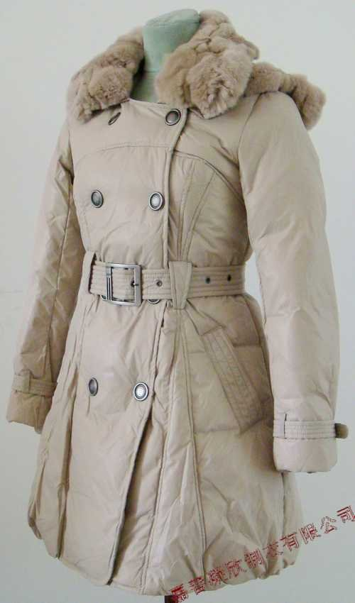 NEW Prancing Leaves Ladies'double-breasted DOWN JACKET with Rex Rabbit Hair Collar&Hoody Beige clr