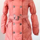 Bowknot Pocket Ladies'double-breasted DOWN JACKET with Rex Rabbit Hair Collar&Hoody Red clr