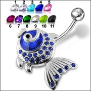 Jeweled Fish Dangling Belly Ring (PBM1353) - *FREE SHIPPING