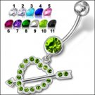 Fancy Jeweled Heart Dangling Belly Ring (PBM1481)  - *FREE SHIPPING