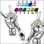 Jeweled Skull Dangling Reverse Belly Ring  (PBM1494) - * FREE SHIPPING