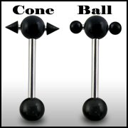 316L Tongue Barbell with UV ball and Cone (BAR206)