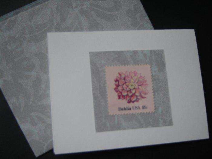 Handmade Card featuring US Stamp 1878 - 18c Dahlia
