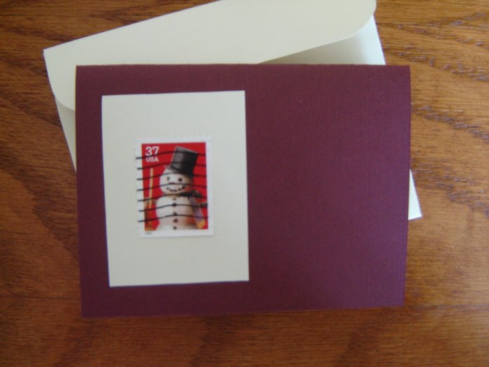 Handmade Card featuring US Stamp 3679 - 37c Snowman w/ Top Hat