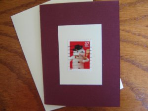 Handmade card featuring US Stamp 3678 - 37c Snowman w/ Pipe
