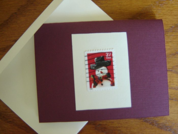 Handmade Card featuring US Stamp 3676 - 37c Snowman w/ Red & Green Scarf