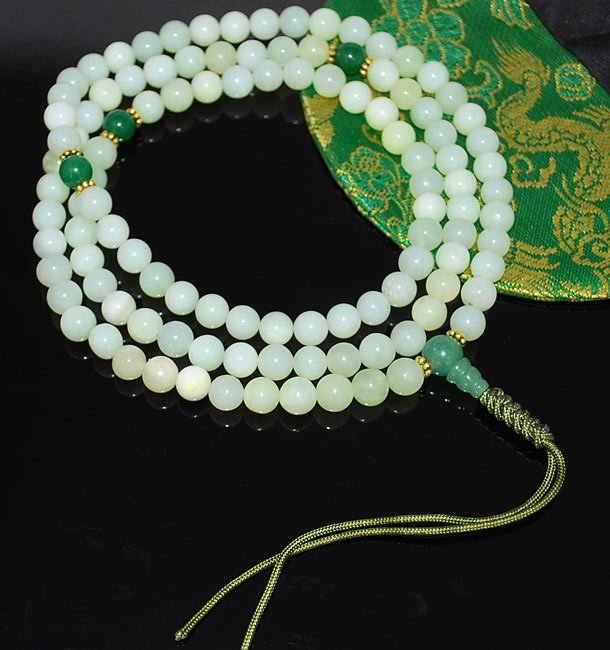 Serpentine and Jade Mala