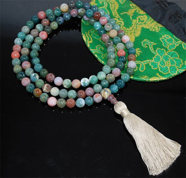 Green  Fancy Jasper Mala Beads