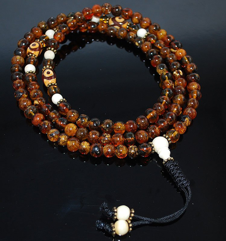 Old Chocolate Amber Mala