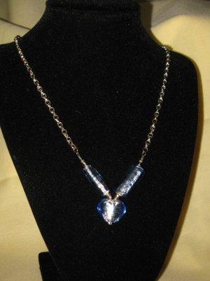 Necklace Blue foil glass