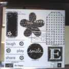 Be Happy rubber stamp set