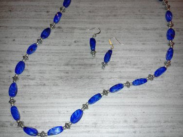 Blue Swirl Glass Necklace and Earrings
