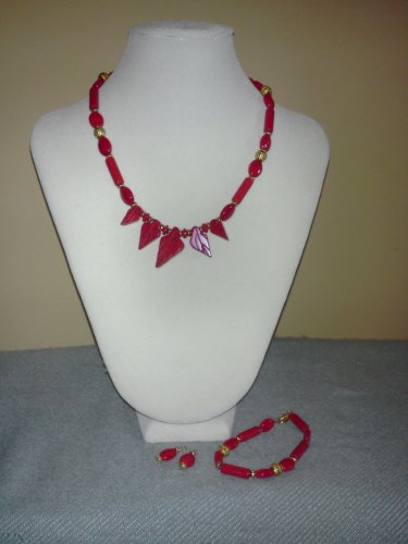 Coral Leaf Necklace, Bracelet and Earrings