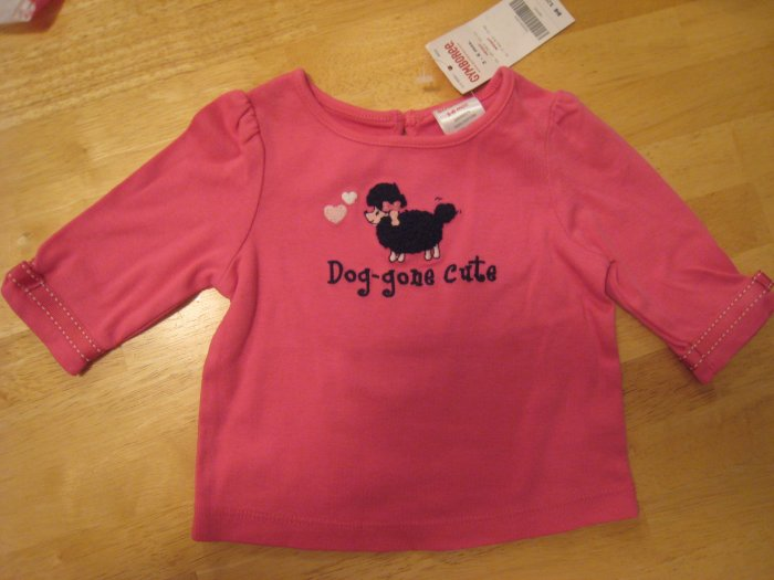 "Gymboree Tres Chic ""Dog-gone Cute"" Poodle top shirt 3-6 mths NWT"
