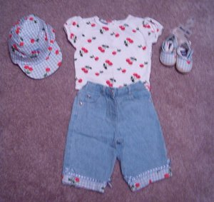NWT GIRLS *ADORABLE* Summer ~CHERRIES ~ 5 pc. set 3-6m