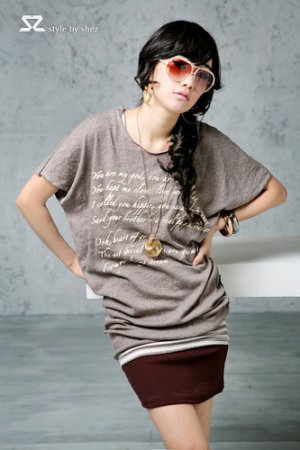 T1402 brown, blue and white long tee