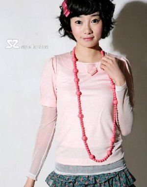 SZ823 pink sweet color top 2pcs included