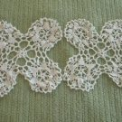 Vintage Pair of Square Hand Crocheted Doilies