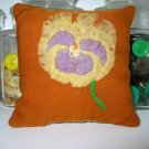 Antique 1898 Crazy Quilt Primitive Pansy Pillow