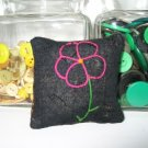 Antique 1898 Crazy Quilt Primitive Pink Flower Pillow