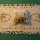Vintage Emb Sachet Pin Cushion Shelf Pillow Dresser Set