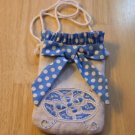 Blue Polka Dot Bow & Ruffles ~ Phone Cozy ~ Linen Purse