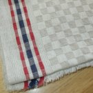 Antique Unused Blue & Red Stripe LinenToweling Fabric