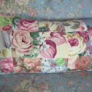 Vintage Pink Roses Fabric  & Barkcloth Patchwork Pillow