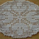 Vintage Oval Filet Crochet Tulip Flower Doily ~ 6 x 7""
