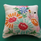 Vintage Emb Flowers Sachet ~ Pin Cushion ~ Shelf Pillow