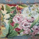 Handmade Floral & Stripes Pillow ~ Pink Roses