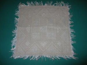 Antique Pulled Work Square Doily with Fringe