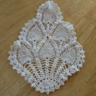 Vintage Pineapple Design Crocheted Doily ~ 6 x 9 Inches