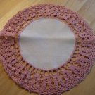 Vintage Pink Crocheted Doily ~ White Linen Center ~ 11""