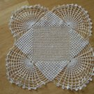 Vintage White Hand Crocheted Square Doily ~ 11""