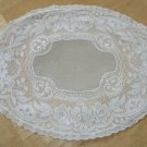 Vintage Oblong Doily ~  Filet Lace ~  Floral Roses