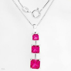 Elegant necklace with 3.02 ctw created sapphires