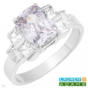 Lauren G. Adam Sterling Silver Ring with 4.91 ctw CZ.Size 8