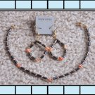 Hematite and Coral Anklet and Earrings Set