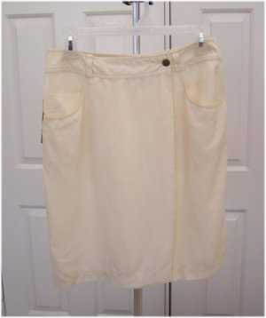 Vintage DKNY Jeans Winter White Silk Wrap Skirt Size 8