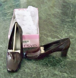 "NIB Brown Eelskin 2-1/2"" Pump Loafer Heels Shoes 9.5 Med New"