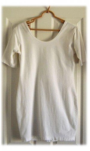White Cotton Lycra Shapely Summer Dress Medium