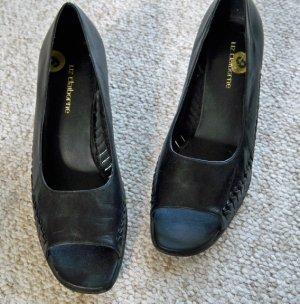 Liz Claiborne Classic Peep Toe Leather Pumps Black Size 9