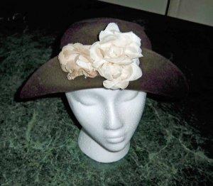 Brown Felt Flower Hat with Lotsa Style