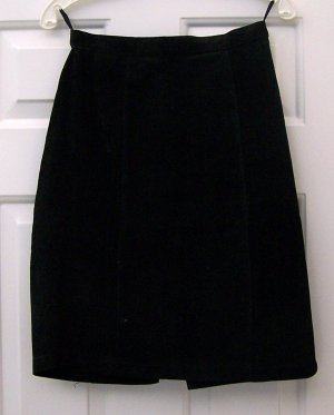 Black Suede Leather Skirt