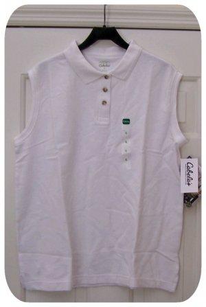 Women's Sleeveless Pique Polo New WHITE XL