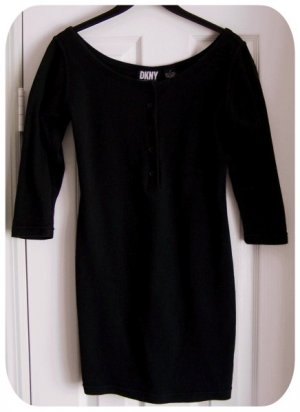 DKNY Black Cotton Shapely Knit Short Dress Size Petite - XS - Extra Small