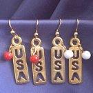 U.S.A. Dangle Earrings Pierced White