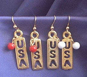 U.S.A. Dangle Earrings Pierced White