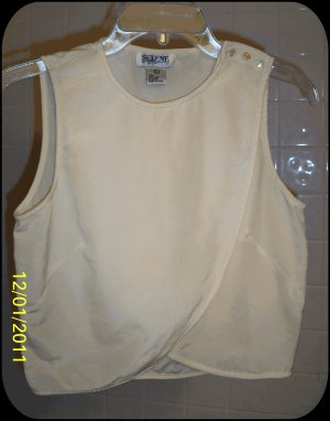 100% Silk Cream sleeveless crossover blouse